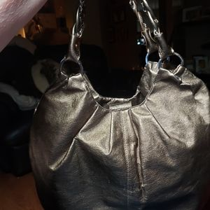 Elliott Lucca Metallic Bronze Leather Hobo Bag